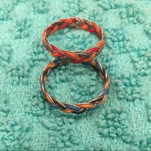 Set of 2 Telephone Wire Handcrafted Rings 7-7.5